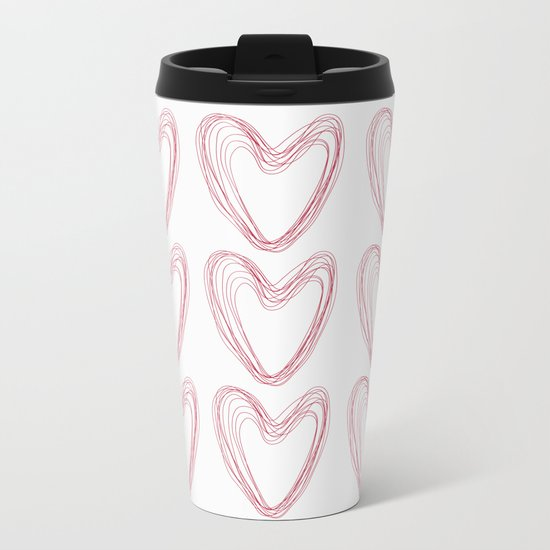 Nine Red Hearts Metal Travel Mug