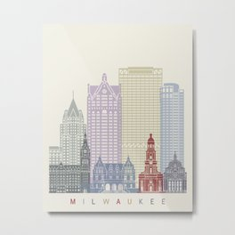 Milwaukee skyline poster Metal Print