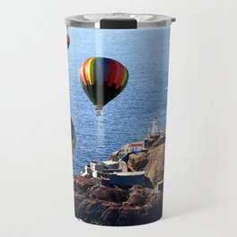 Flying Colorful Hot air Balloons over Newfoundland Travel Mug