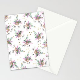 Modern cute whimsical floral unicorn pattern illustration gold glitter polka dots Stationery Cards