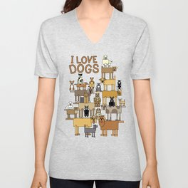 I Love Dogs Unisex V-Neck