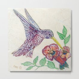 Humming Bird Mixed Media by Catherine Coyle  Metal Print