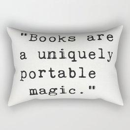 """Books are a uniquely portable magic."" Rectangular Pillow"