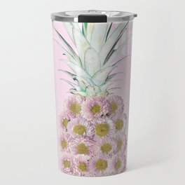 Floral Pineapple Stripes Pink Travel Mug