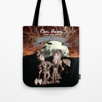 rock n roll Tote Bags featuring Rock 'N' Roll Circus by Melissa Morrison