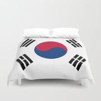 korea Duvet Covers featuring Flag of South Korea by Neville Hawkins