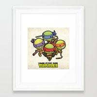 ninja turtles Framed Art Prints featuring Kawaii Mutant Ninja Turtles by Squid&Pig
