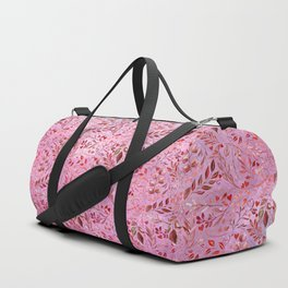 Gorgeous Red Flourish in Glamour Pink Duffle Bag