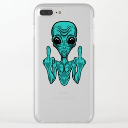 Ufo Flying Saucer Alien Extraterrestial Gray Gift Clear iPhone Case