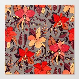 Red Tropical Floral Canvas Print
