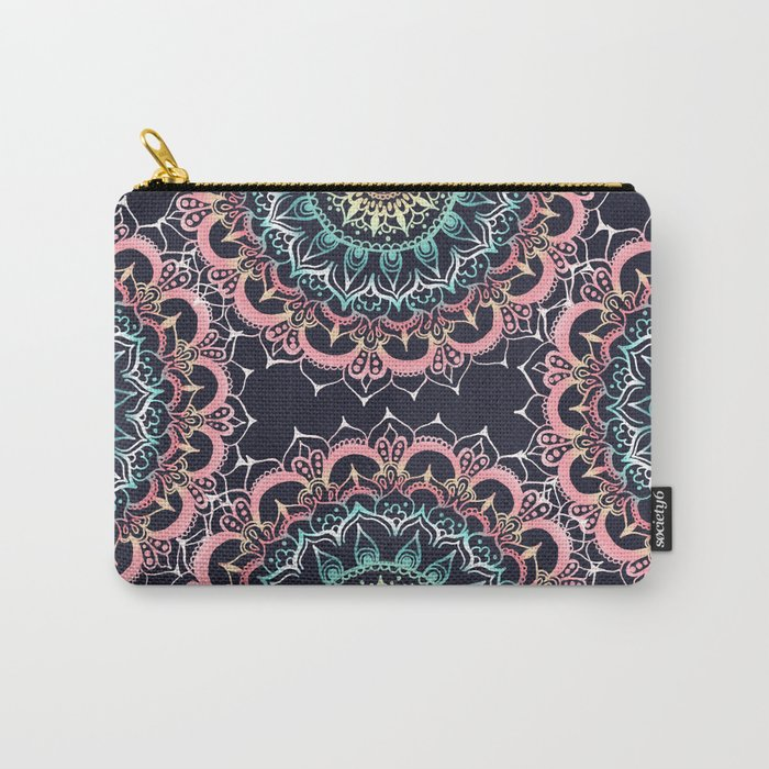 Pink, Cream & Soft Turquoise Glow Medallion on Navy Carry-All Pouch