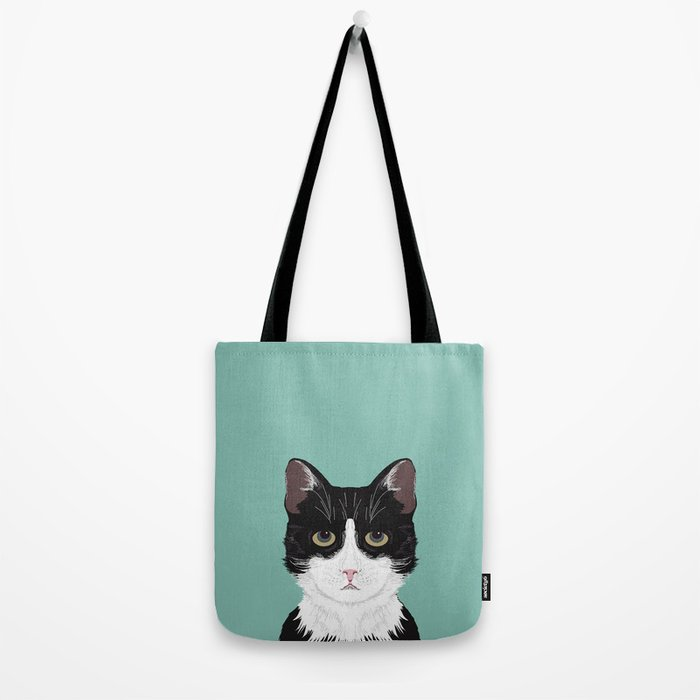 Quinn - Cute black and white cat tuxedo cat gifts for cat lady gift ideas cell phone case with cat Tote Bag