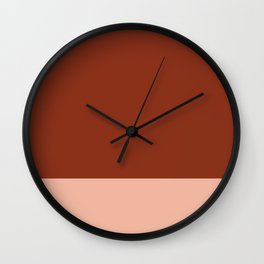 Rich Maroon Rust and Pale Salmon Color Block Wall Clock