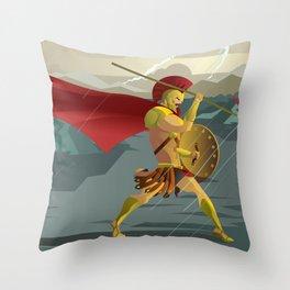 epic spartan soldier in the rain Throw Pillow