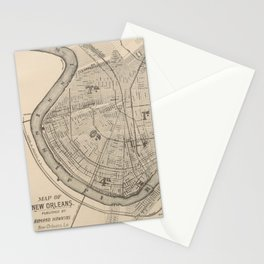 Vintage Map of New Orleans Louisiana (1885) Stationery Cards