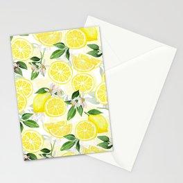 mediterranean summer lemon fruits on white Stationery Cards