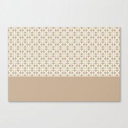 Pantone Cannoli Cream Square Petal Pattern on Pantone Hazelnut Canvas Print