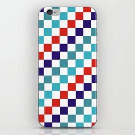 Gridded Red Tale Blue Pattern iPhone Skin