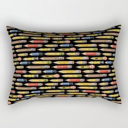 Tiny Pencils Black Rectangular Pillow