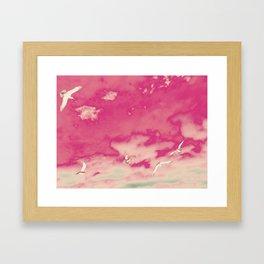 Pink Sky & Gulls Framed Art Print
