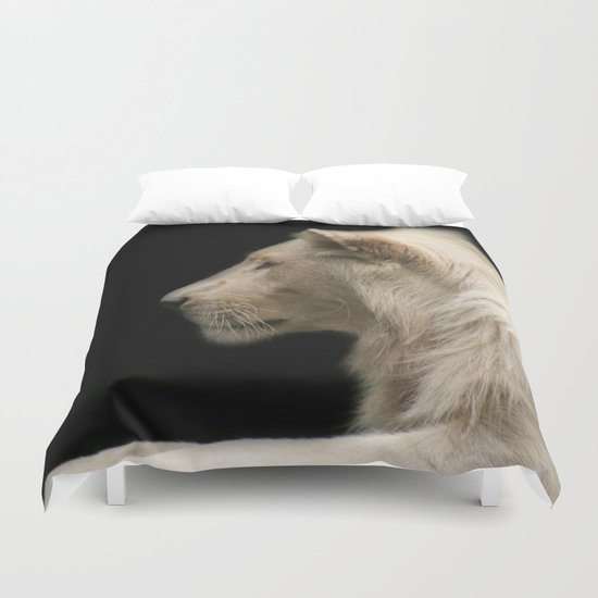 Young white lion Duvet Cover