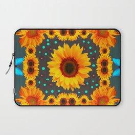 Blue Butterflies Golden Sunflowers Teal Art Laptop Sleeve
