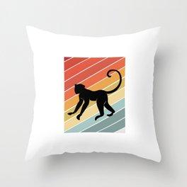 Retro Monkey Primate Gift Idea Throw Pillow