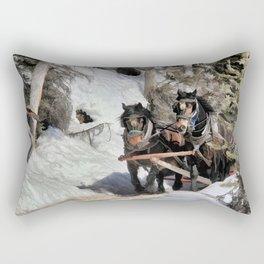 Horse Drawn Wintery Sleigh Ride Rectangular Pillow