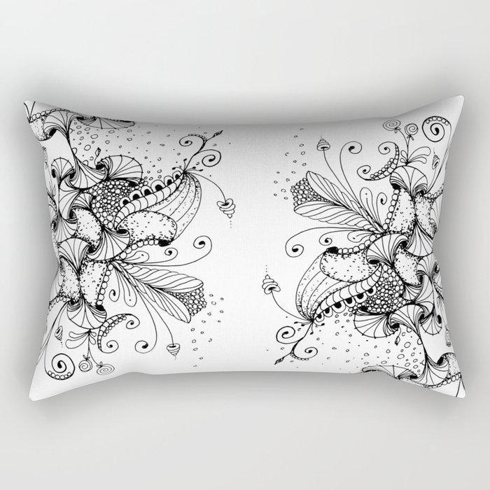 Floral Abstract Ink Art Rectangular Pillow
