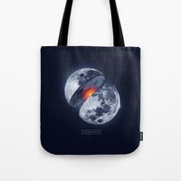 the moon Tote Bags featuring Moon by Steven Toang