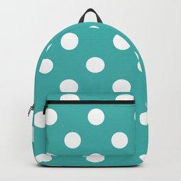 Polka Dots - White on Verdigris Backpack