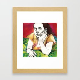 Girl on Red Framed Art Print