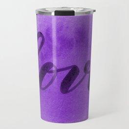 Valentine's Day Watercolor Love – purple Travel Mug