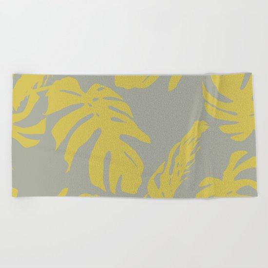 Simply Mod Yellow Palm Leaves on Retro Gray Beach Towel