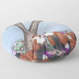 fox, cubs and tufted titmice Floor Pillow
