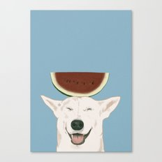 Watermelon doggy smile Canvas Print