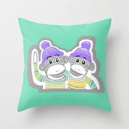 Grey, Mint, Purple, and Yellow Sock Monkeys Art Throw Pillow