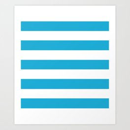 Battery charged blue - solid color - white stripes pattern Art Print