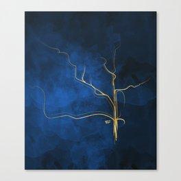 Kintsugi Electric Blue #blue #gold #kintsugi #japan #marble #watercolor #abstract Canvas Print