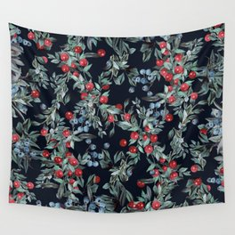 Festive Christmas Berries Pattern Wall Tapestry