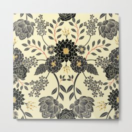 Gray, Black, Cream, Yellow & Red Sophisticated Floral Pattern Metal Print