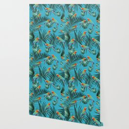 Parrots in the Tropical Jungle #1 #tropical #decor #art #society6 Wallpaper