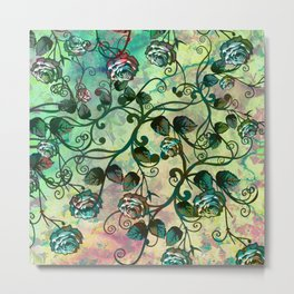 Pastel and Green Rosevine Metal Print