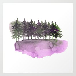 Forest in lilac green Art Print