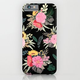 Watercolor Poppy & Sunflowers Floral Black Design iPhone Case