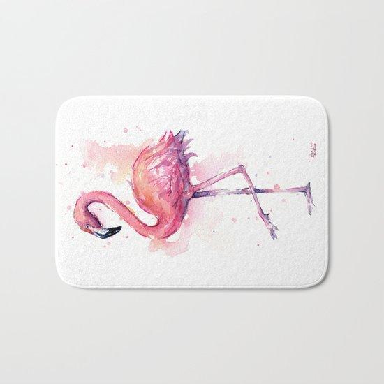 Pink Flamingo Watercolor Tropical Bird Bath Mat