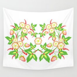 Flowers and strawberries Wall Tapestry