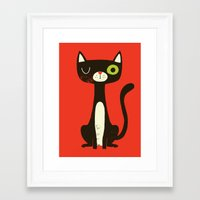 black cat Framed Art Prints featuring Black Cat by Monster Riot
