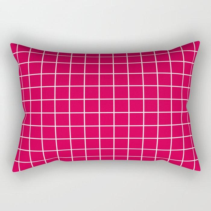 Carmine (M&P) - fuchsia color - White Lines Grid Pattern Rectangular Pillow