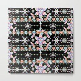 Folkloric Snowflakes Metal Print
